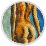 The Beauty Of Female Body Round Beach Towel