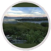 The Beauty Of Long Island Sound Round Beach Towel