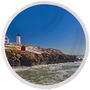 The Beauty Of Nubble Round Beach Towel
