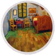 The Bedroom Of Van Gogh At Arles Round Beach Towel