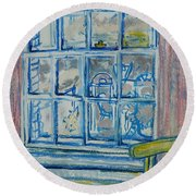 The Bedroom Window Oil & Pastel On Paper Round Beach Towel