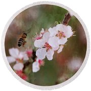 The Bee In The Cherry Tree Round Beach Towel