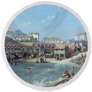 The Beginning Of Sea Swimming In The Old Port Of Biarritz  Round Beach Towel