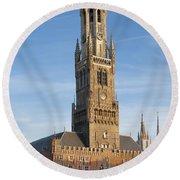 The Belfry Of Bruges Round Beach Towel
