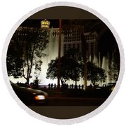 The Bellagio At Night Round Beach Towel