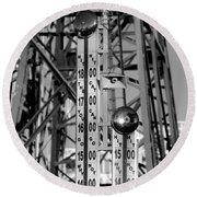 The Bells Of Coney Island In Black And White Round Beach Towel
