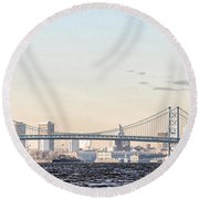 The Ben Franklin Bridge From Penn Treaty Park Round Beach Towel