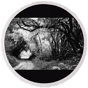 The Bend In The Road Bw Round Beach Towel