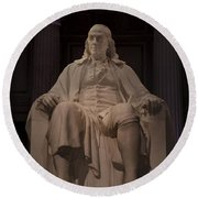 The Benjamin Franklin Statue Round Beach Towel