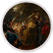 The Betrayal Of Christ Round Beach Towel by Anthony Van Dyck