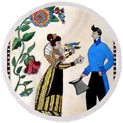 The Betrothal-folk Art Round Beach Towel