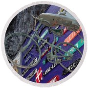 The Bicycle Peddler Round Beach Towel