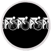 The Bicycle Race 2 Black Round Beach Towel by Brian Carson