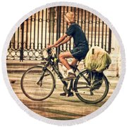 The Bicycle Rider - Leon Spain Round Beach Towel