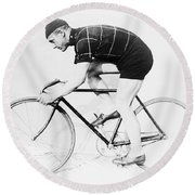 The Bicyclist - 1914 Round Beach Towel