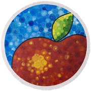 The Big Apple - Red Apple By Sharon Cummings Round Beach Towel
