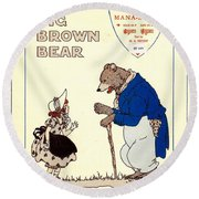 The Big Brown Bear Round Beach Towel
