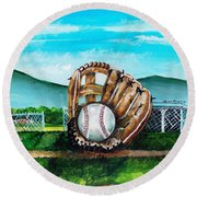 The Big Leagues Round Beach Towel by Shana Rowe Jackson