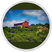 The Big Red Barn Round Beach Towel