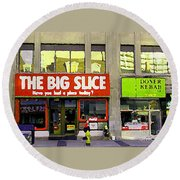 The Big Slice Pizzeria Downtown Toronto Restaurants Doner Kebob House Street Scene Painting Cspandau Round Beach Towel