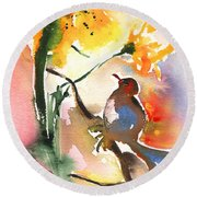 The Bird And The Flower 01 Round Beach Towel