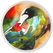 The Bird And The Flower 03 Round Beach Towel