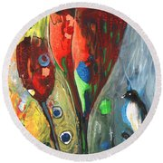 The Bird And The Tulips Round Beach Towel
