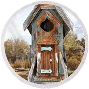 The Birdhouse Kingdom - Belted Kingfisher Round Beach Towel