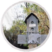 The Birdhouse Kingdom - The Loggerhead Shrike Round Beach Towel
