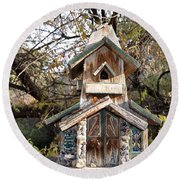 The Birdhouse Kingdom - The Red Crossbill Round Beach Towel