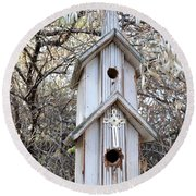 The Birdhouse Kingdom - The Western Wood-pewkk Round Beach Towel