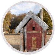 The Birdhouse Kingdom - Western Bluebird Round Beach Towel