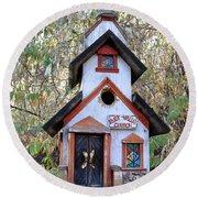 The Birdhouse Kingdom -the Pygmy Nuthatch Round Beach Towel
