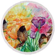 The Birds Of Spring Shower Blessings On You Round Beach Towel