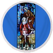 The Birth Of Jesus   Round Beach Towel