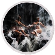 The Birth Of The Double Star. Anna At Eureka Waterfalls. Mauritius. Tnm Round Beach Towel