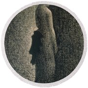 The Black Bow Round Beach Towel by Georges Pierre Seurat