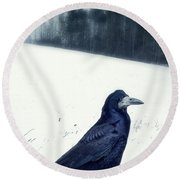 The Black Crow Knows Round Beach Towel