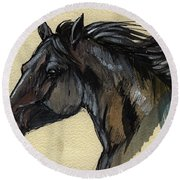 The Black Horse Round Beach Towel
