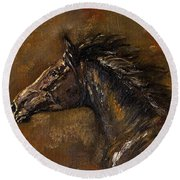 The Black Horse Oil Painting Round Beach Towel