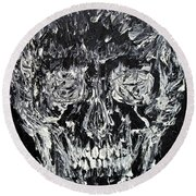 The Black Skull - Oil Portrait Round Beach Towel