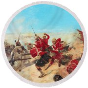 The Black Watch At The Battle Round Beach Towel by Henri-Louis Dupray