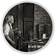 The Blacksmith 2 Monochrome Round Beach Towel