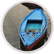 The Blue Boat Round Beach Towel by Kim Bemis