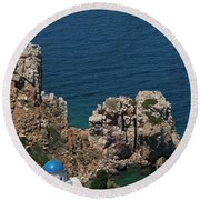 The Blue Domed Church At The Water S Round Beach Towel