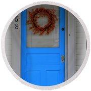 The Blue Door With Bittersweet Wreath Round Beach Towel