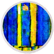 The Blue Doors Of La Rue Des Fauves Round Beach Towel