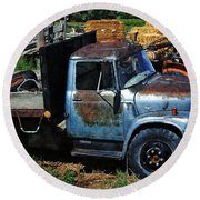 The Blue Farm Truck Round Beach Towel