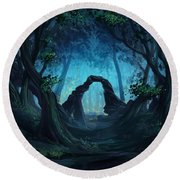 The Blue Forest Round Beach Towel by Cassiopeia Art