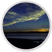 The Blue Hour Sunset Round Beach Towel